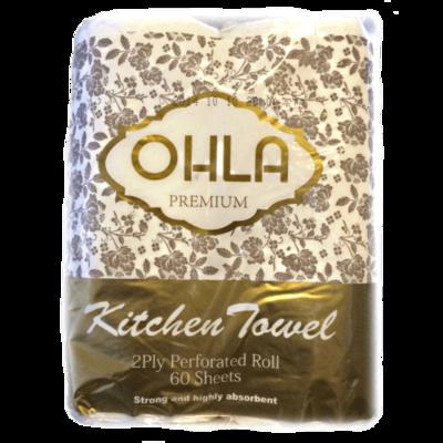 OHLA PREMIUM KITCHEN TOWEL 60 SHEETS CTN 24 ROLLS