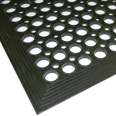 WET AREA ANTI-SLIP ANTI-FATIGUE MAT BLACK 90CM X 60CM