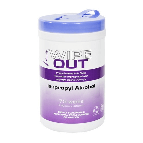 WIPE OUT ISOPROPYL WIPES 14CM X 42CM 75 WIPES