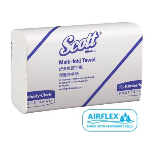 SCOTT 13207 WHITE SLIMTOWEL 24CM X 23.5CM 250 SHEETS CTN 16