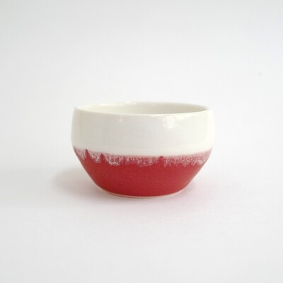 Red & White - cup, porcelain, white, handmade, coffee, gift, kung fu tea