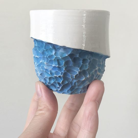 Connect with nature - ocean blue, ceramic, handmade, coffee lovers, gift, coffee cup