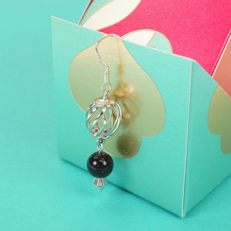 Mixed media, shiny black beads, handmade earrings, 925 silver hooks