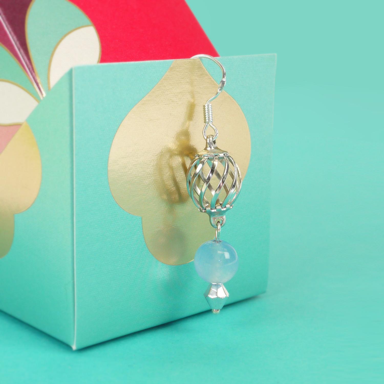 Mixed media, sky blue beads, handmade earrings, 925 silver hooks