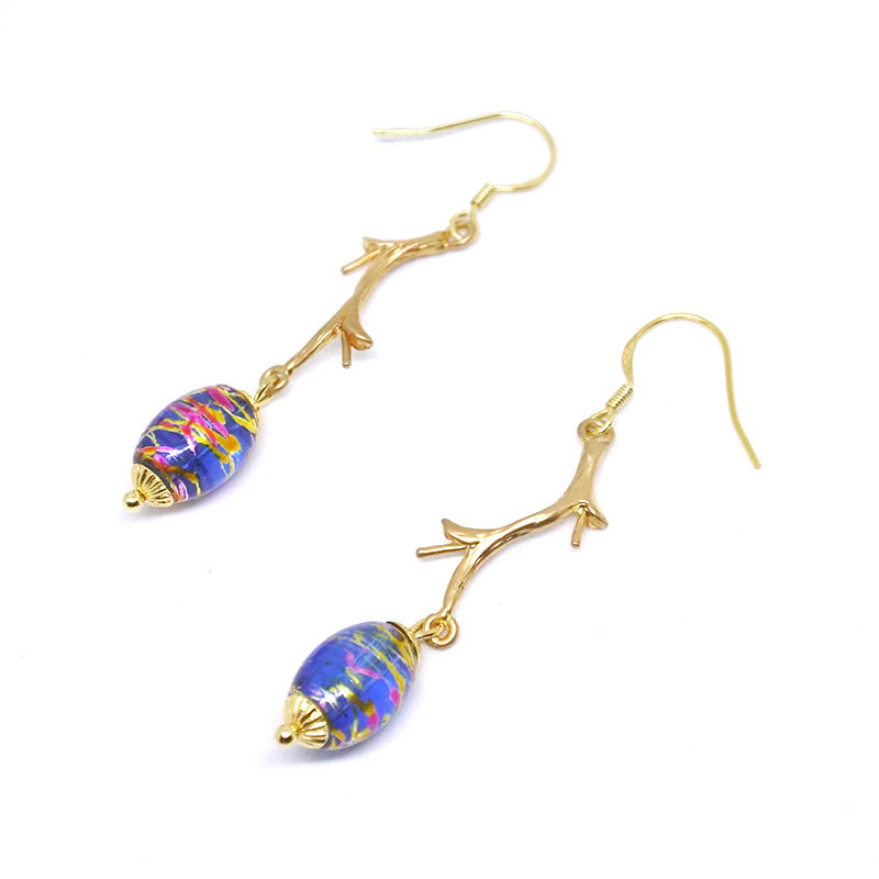 Golden branch — Blue golden breads, long earrings, 925 Golden Hook, gift