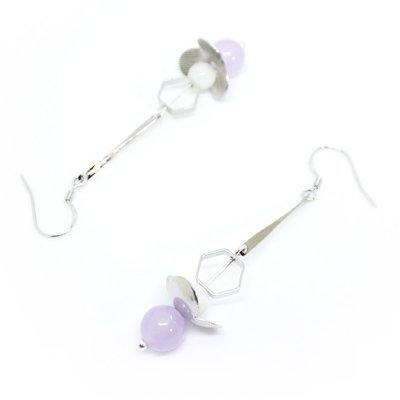 Sakura — white, blue beads, Silver-tone finish, 925 Silver hook, gift