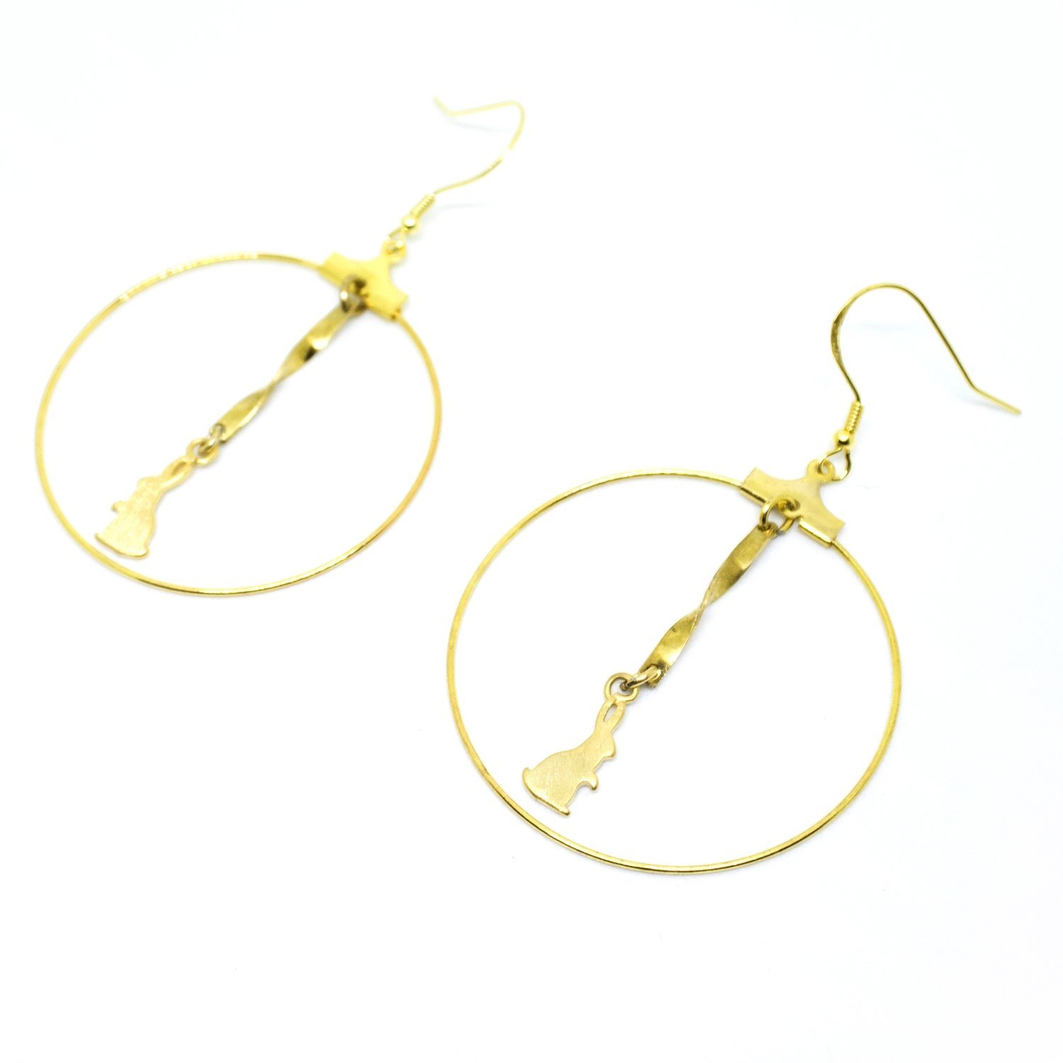 Rabbit and the ribbon — round earrings, 925 golden hook, full moon, handmade, Hong Kong, fashion jewellery