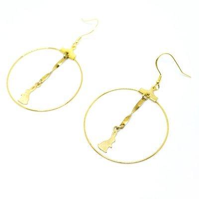 Rabbit and the ribbon — round earrings, 925 golden hook, full moon, handmade, Hong Kong, fashion jewellery