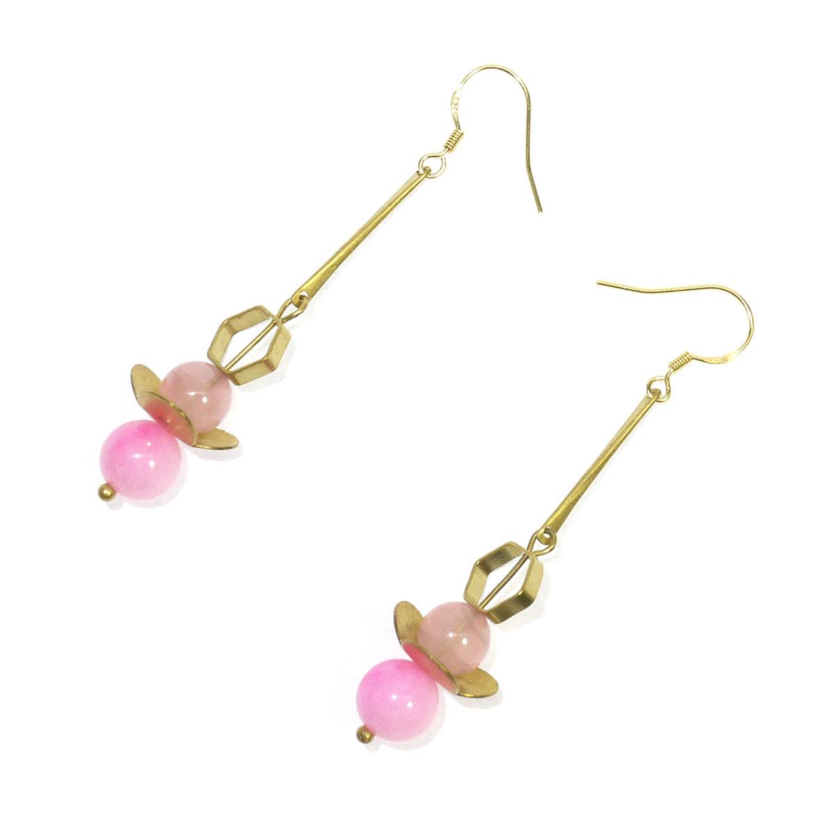 Sakura II — Pink beads, Golden finishing, HK design, gift, free shipping