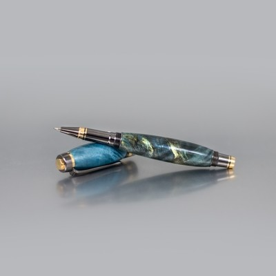 Executive Rollerball Pen - Island Blue Buckeye Burl Wood