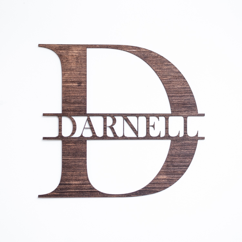 Bold - Split Monogram Wall or Door Sign - Personalized