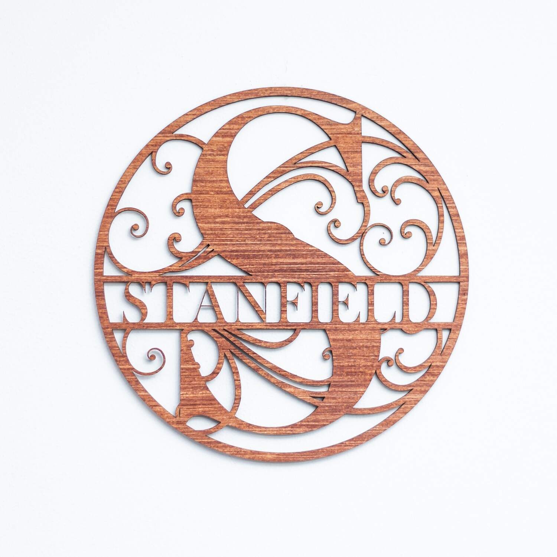 Ornate Circle - Split Monogram Wall or Door Sign - Personalized