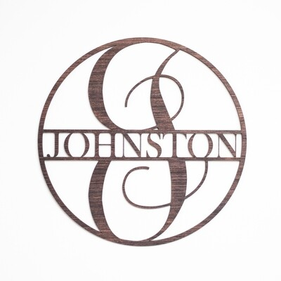 Classic Circle - Split Monogram Wall or Door Sign - Personalized