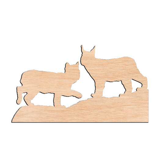 Bobcat & Lynx - Raw Wood Cutout