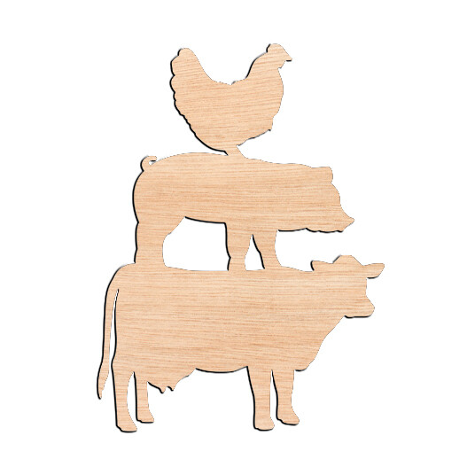 Chicken Pig Cow - Raw Wood Cutout