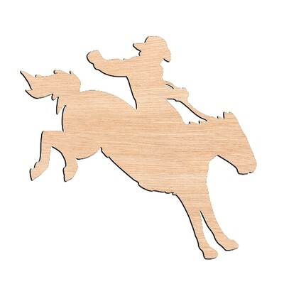 Horse with Rider - Raw Wood Cutout