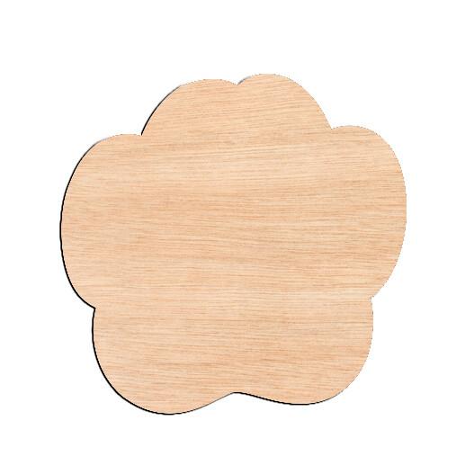 Paw Print - Raw Wood Cutout