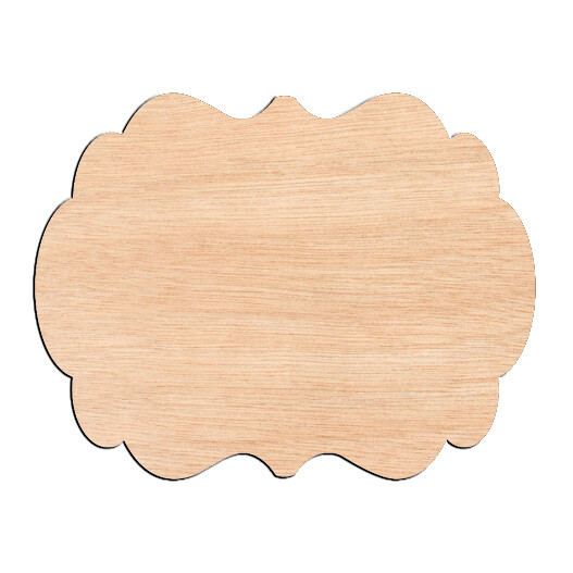 Decorative Rounded Rectangle - Raw Wood Cutout