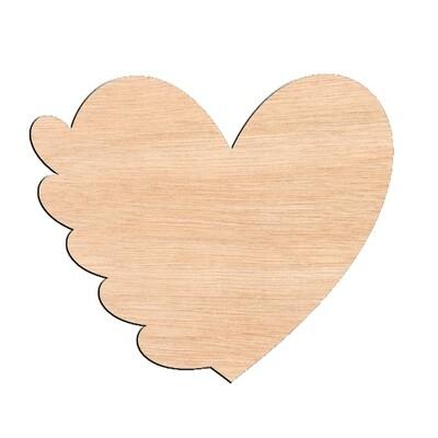 Heart with 5 Mini Hearts - Raw Wood Cutout