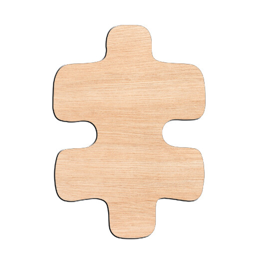 Puzzle Piece Double Sided - Raw Wood Cutout