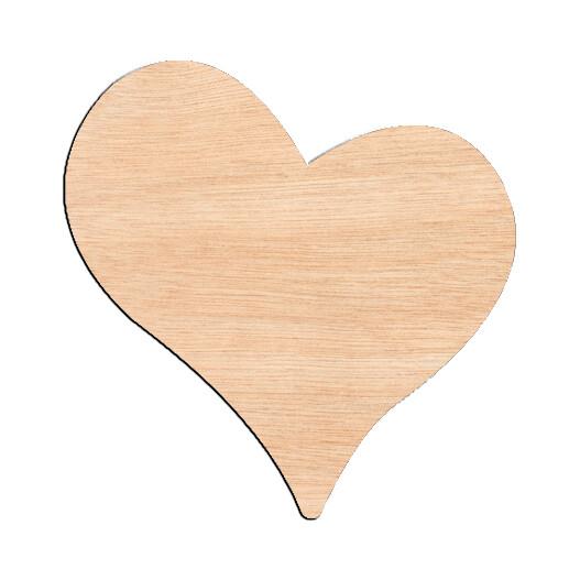 Slanted Heart - Raw Wood Cutout
