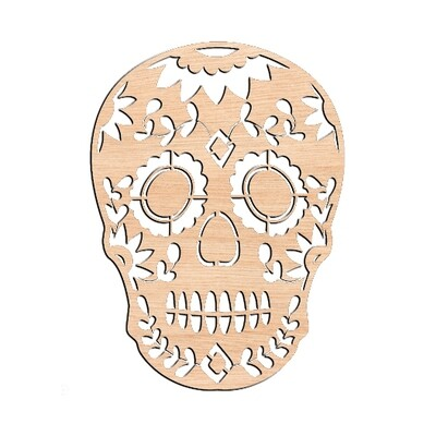Ornate Sugar Skull - Raw Wood Cutout