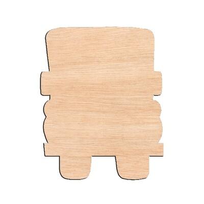 Truck Rear View - Raw Wood Cutout