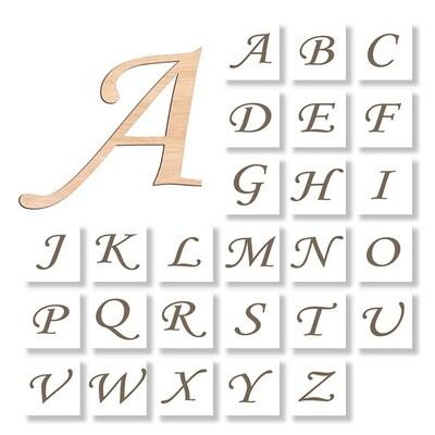 Any Letter - Script Font - Raw Wood Cutout