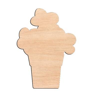 Flower Pot - Raw Wood Cutout