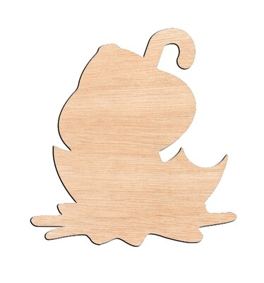 Chick in Umbrella - Raw Wood Cutout