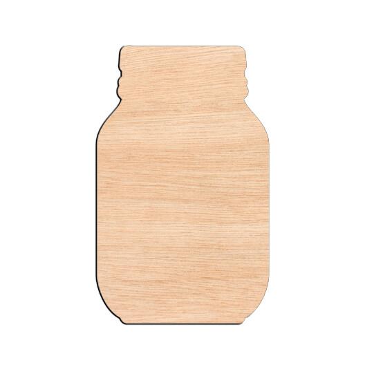 Mason Jar - Raw Wood Cutout