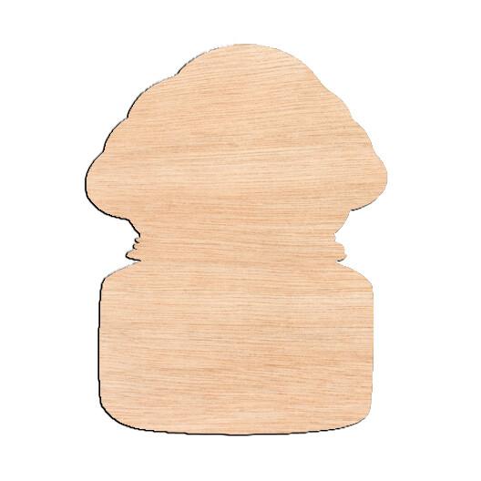 Cotton Mason Jar - Raw Wood Cutout