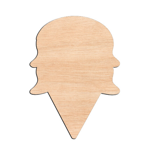 Ice Cream Cone - Raw Wood Cutout