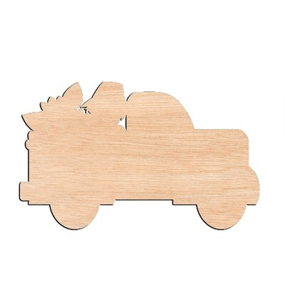 Scarecrow and Sunflower Truck - Raw Wood Cutout