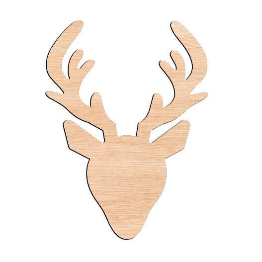 Deer Head - Raw Wood Cutout