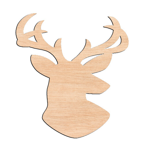 Deer Head Angled - Raw Wood Cutout