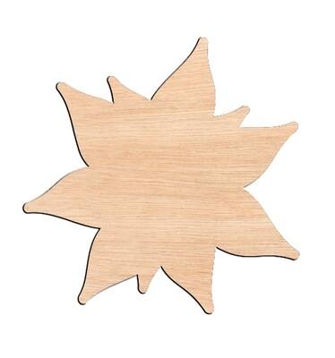 Poinsettia - Raw Wood Cutout