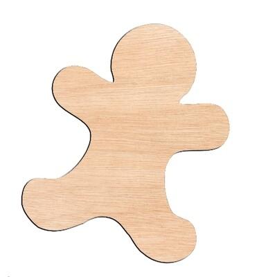 Gingerbread Man - Raw Wood Cutout