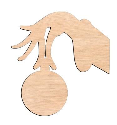 Grinch Hand - Raw Wood Cutout