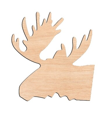 Moose Head - Raw Wood Cutout