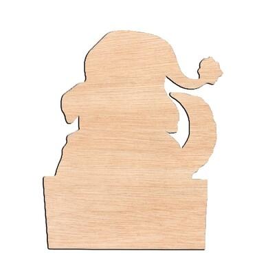 Puppy in Gift Box - Raw Wood Cutout