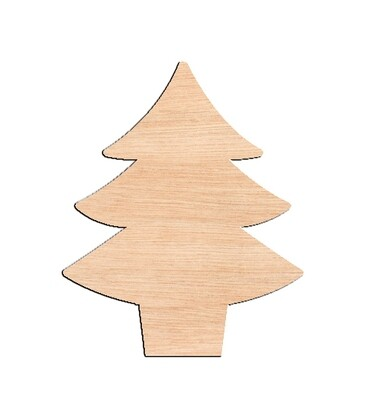 Pine Tree in Vase - Raw Wood Cutout
