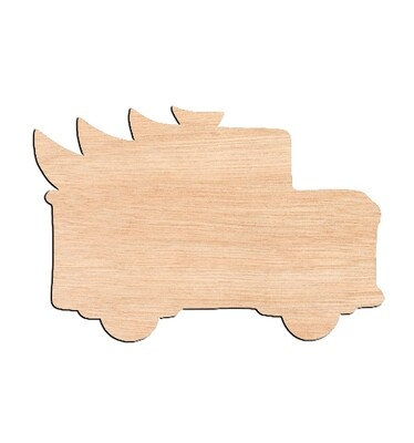Truck with Tree - Raw Wood Cutout