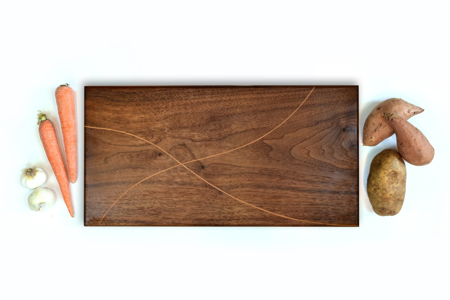 Walnut Cutting Board with Cherry Wood Inlay