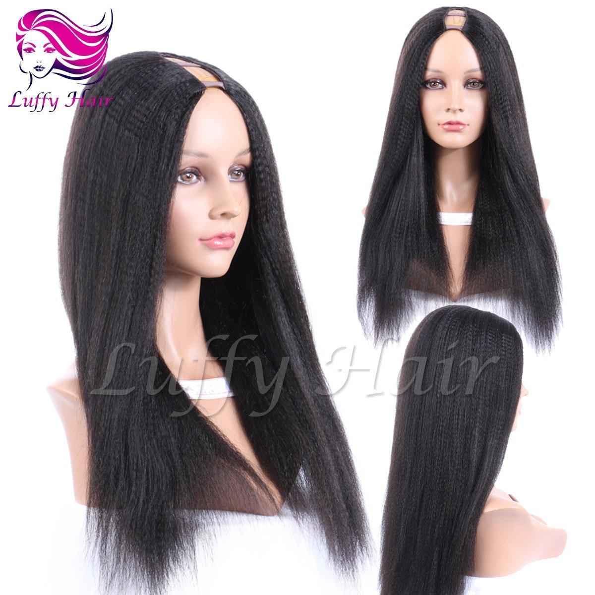 8A Virgin Human Hair Italian Yaki Straight U Part Wig - KWU004