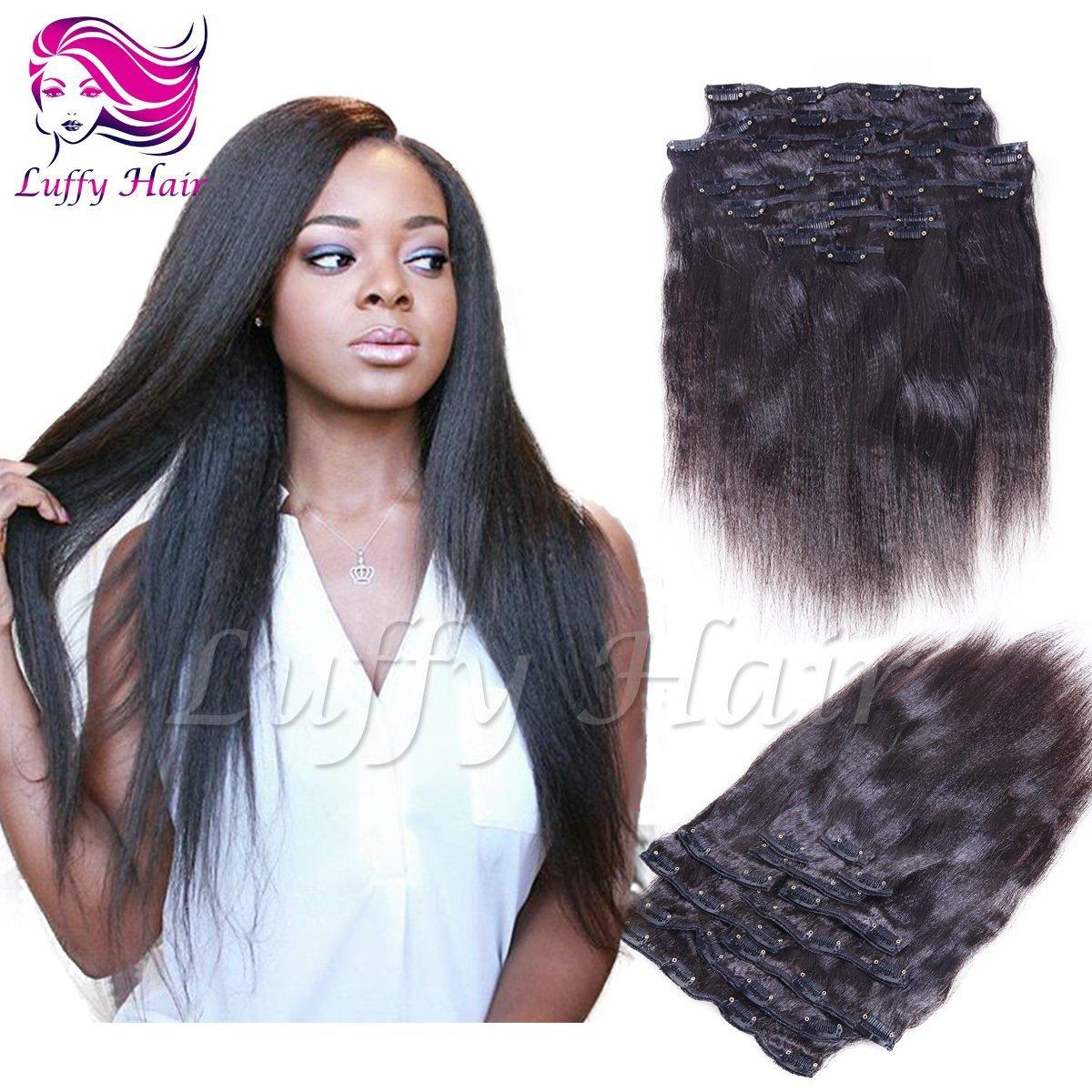 8A Virgin Human Hair Italian Light Yaki Straight Clip In Hair Extensions - KIL002