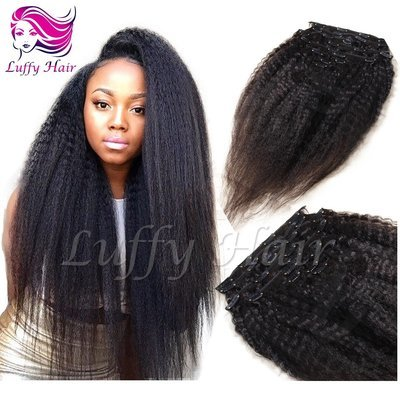8A Virgin Human Hair Kinky Straight Clip In Hair Extensions - KIL006
