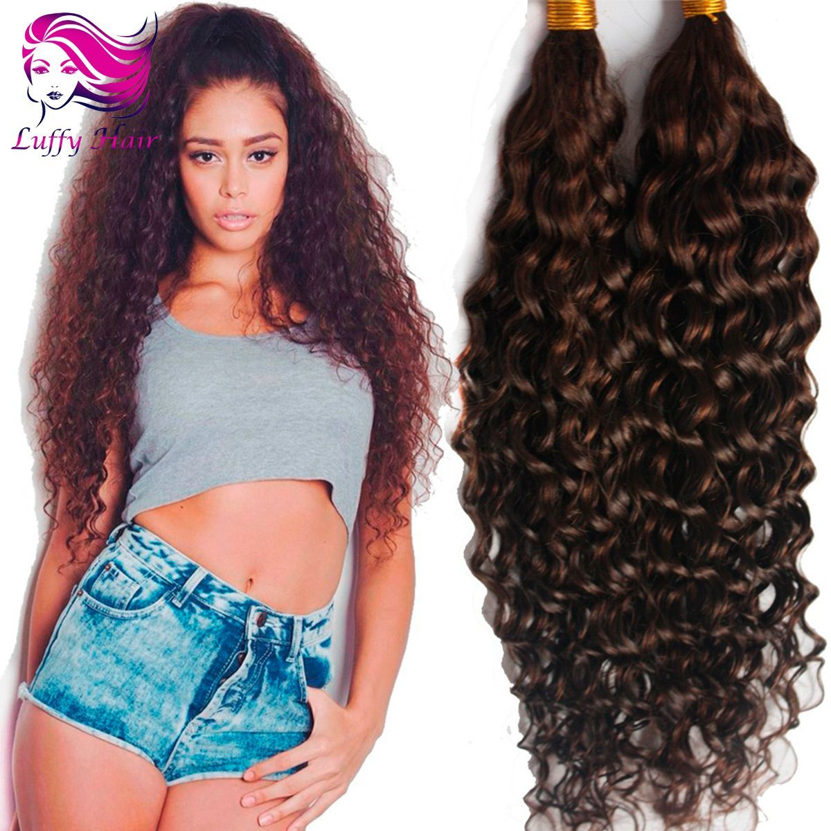 8A Virgin Human Hair Curly Braiding Hair Bulk - KBL007