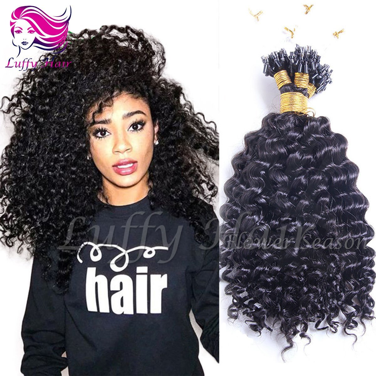 8A Virgin Human Hair Curly Micro Loop Ring Hair Extensions - KML002