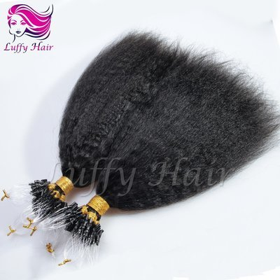 8A Virgin Human Hair Kinky Straight Micro Loop Ring Hair Extensions - KML001